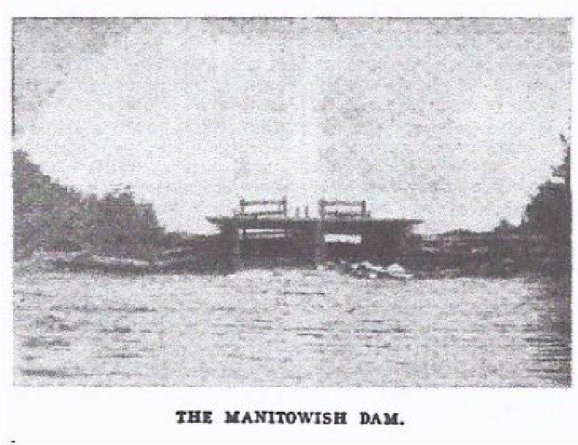 Earliest image of the Rest Lake Dam from the late 19th century.