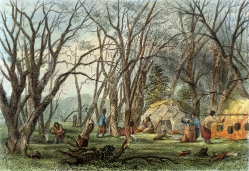 Indian Sugar Camp by Seth Eastman, from The American Aboriginal Portfolio by Mary Eastman, 1853